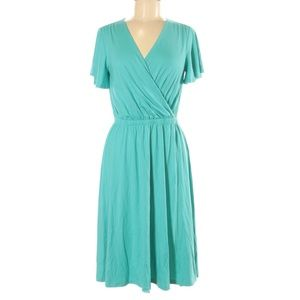 Lands End Teal Knit V-Neck A-Line Dress X-Small